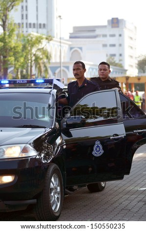 KUANTAN, MALAYSIA-AUG 31: The bodyguard of Tengku Mahkota Pahang getting ready in National Day parade, celebrating the 55th anniversary of independence on August 31, 2012 in Kuantan,Pahang,Malaysia. - stock photo