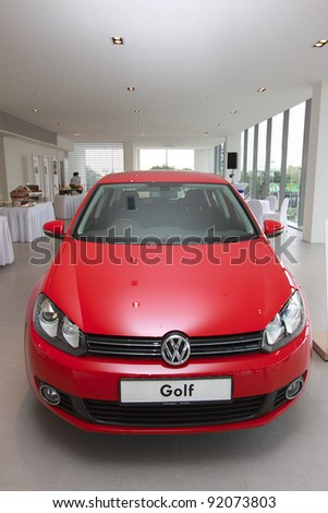 KUANTAN,MALAYSIA-JAN.4: Front view of Golf at the launching of Volkswagen Showroom on January 4th 2012 in Kuantan, Pahang, Malaysia.  Official opening celebration on 7th and 8th January 2012. - stock photo