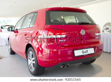 KUANTAN, MALAYSIA - JAN 4: The back of Volkswagen Golf car at the Volkswagen car event new opening showroom on January 4, 2012 in Kuantan, Malaysia. Opening celebration on 7th and 8th January 2012. - stock photo