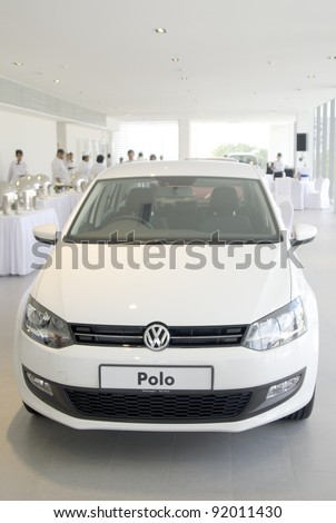 KUANTAN, MALAYSIA - JANUARY 4: The Volkswagen Polo car at the Volkswagen car event new opening showroom on January 4, 2012 in Kuantan, Malaysia. opening celebration on 7th and 8th January 2012. - stock photo