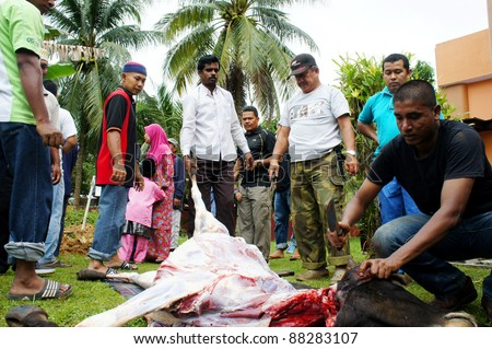 KUANTAN, MALAYSIA - NOVEMBER 06: A Malaysian Muslim preparing meat to distribute to the poor and homeless during Eid Al-Adha Al Mubarak, the Feast of Sacrifice November 06, 2011 in Kuantan, Malaysia. - stock photo