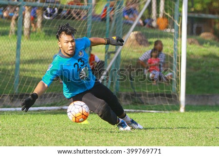 Kuantan, Pahang - February 02, 2016: Goalkeeper Nasril Nordin of Pahang FC in action during training session at Taman Gelora field, Kuantan
