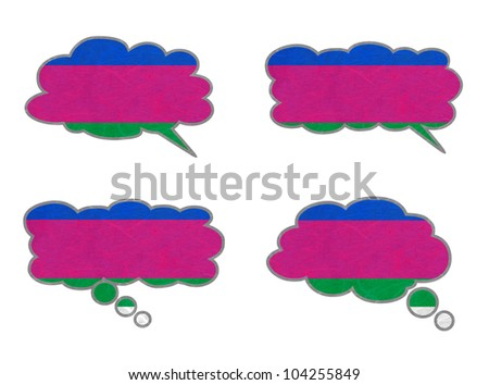 Kuban Peoples Republic Flag. Dialog box recycled paper on white background. - stock photo