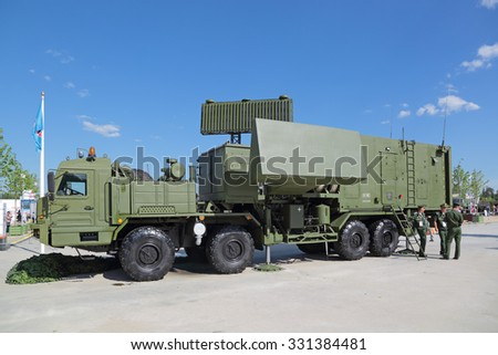 """KUBINKA, MOSCOW OBLAST, RUSSIA - JUN 18, 2015: The 55ZH6M """"Nebo-M"""" radar system at the International military-technical forum ARMY-2015 in military-Patriotic park - stock photo"""