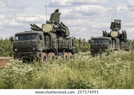 KUBINKA, MOSCOW REGION, RUSSIA - JUNE 17, 2015. Pantsir-S1 is the Russian anti-aircraft artillery weapon system. June 17, 2015 in Kubinka, Russia.