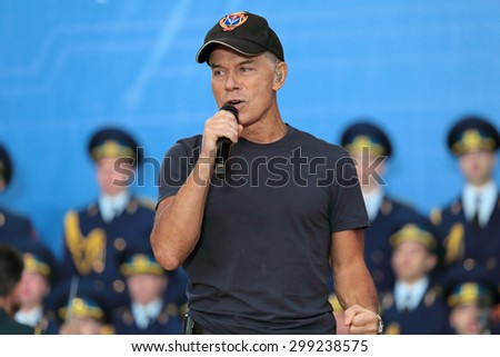 KUBINKA,  RUSSIA - JUN 19, 2015: The Oleg Gazmanov - Russian pop singer, composer and poet at the closing ceremony of the International military-technical forum ARMY-2015 in military-Patriotic park - stock photo
