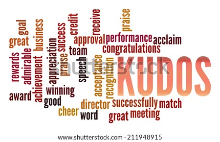 Kudos in word collage - stock photo