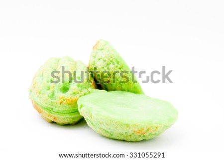 Kueh Cara Manis is traditional Malay kueh at Malaysia with creamy and sweet taste. The ingredients is pandan leaves, coconut milk, flour, egg, sugar, pinch of salt and some water. -stock photo