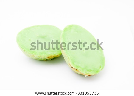 Kueh Cara Manis is traditional Malay kueh at Malaysia with creamy and sweet taste. The ingredients is pandan leaves, coconut milk, flour, egg, sugar, pinch of salt and some water. -stock photo - stock photo