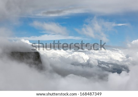 Kukenan tepui in the clouds (view from Roraima tepui) - Venezuela, South America