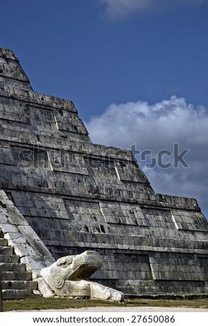Kukulkan on the Chichen Itza pyramid - stock photo