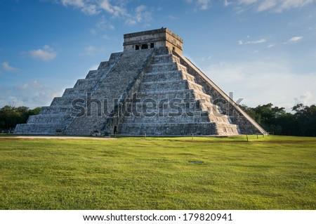 Kukulkan Pyramid at Chichen Itza, Mexico (sunset) - stock photo