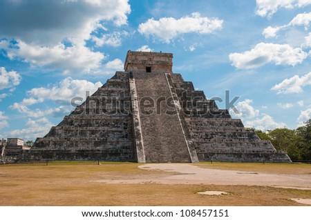 Kukulkan Pyramid at Chichen Itza on the Yucatan peninsula, Mexico - stock photo