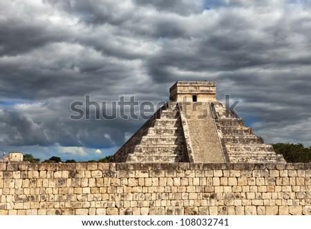 Kukulkan Pyramid in Chichen Itza on the Yucatan, Mexico - stock photo