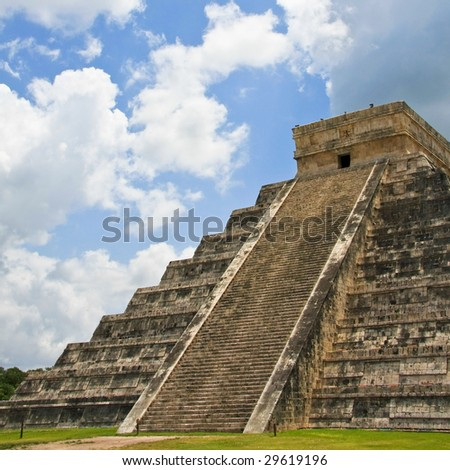 Kukulkan Pyramid in Chichen Itza on the Yucatan Peninsula, Mexico - stock photo