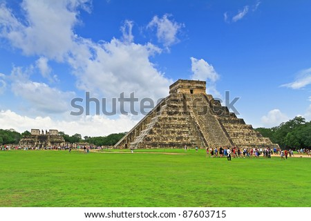 Kukulkan pyramid in Chichen Itza, one of 7 New Wonders in Mexico - stock photo