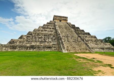Kukulkan pyramid in Chichen Itza, one of 7 New Wonders in Mexico - stock photo
