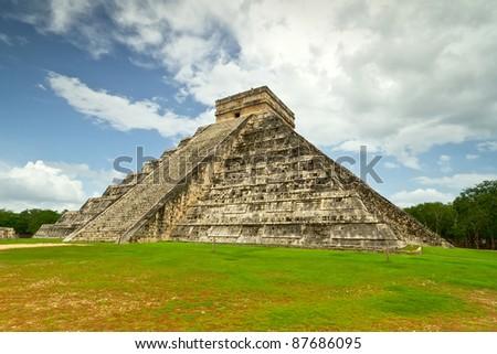 Kukulkan pyramid of Chichen Itza in Mexico - stock photo