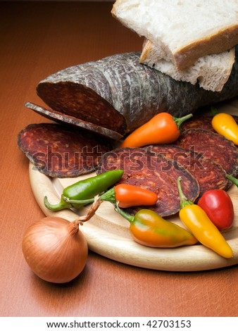 Kulen is a type of flavored sausage made of minced pork that is traditionally produced in Croatia. - stock photo