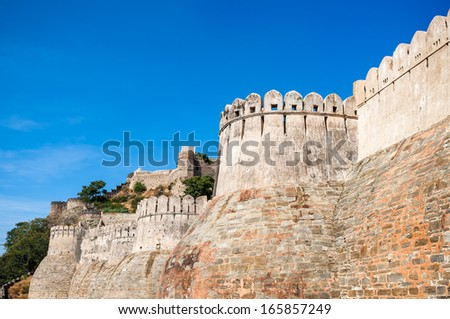 Kumbhalgarh fort, Rajasthan, India.  Kumbhalgarh is a Mewar fortress in the Rajsamand District of Rajasthan state in western India and is known world wide for its great history and architecture. - stock photo