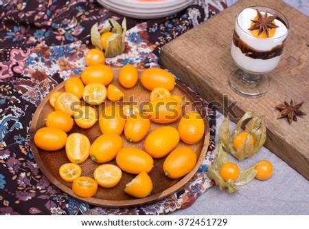 kumquat and physalis dessert - stock photo