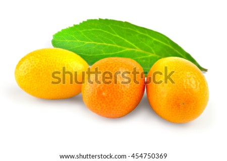 Kumquat citrus on a white background cutout. - stock photo
