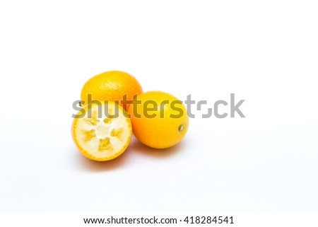 kumquat isolated on white background - stock photo