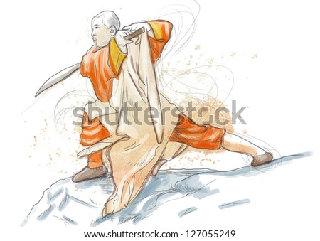 Kung Fu, Chinese martial art. /// A hand drawn illustration of Chinese martial arts, popularly referred to as kung fu. /// Watercolors with countour on white. - stock photo