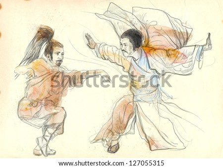 Kung Fu, Chinese martial art. /// A hand drawn illustration of Chinese martial arts, popularly referred to as kung fu. /// Watercolors with contour on old paper. - stock photo