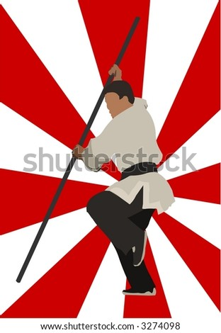 Kung Fu Man With Stick - stock photo