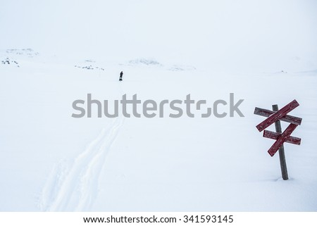 Kungsleden in the wintertime - whiteout - stock photo