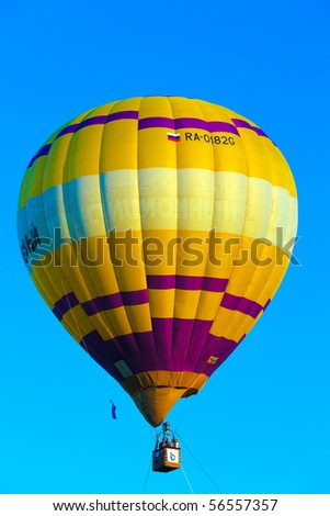 KUNGUR, RUSSIA - JULY 3: A hot air balloon flight at the annual Kungur Hot Air Balloon Fiesta on July 3, 2010 in Kungur, Russia.