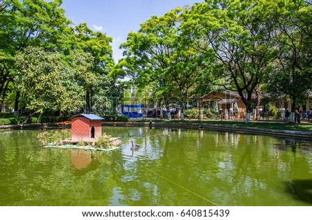 Kunming,China - April 8,2017 : Green Lake Park also known as Cui Hu Park is one of the most beautiful parks in Kunming city.