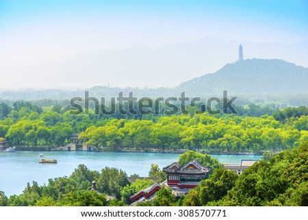 Kunming Lake and The Summer Palace. Located in Beijing, China. - stock photo