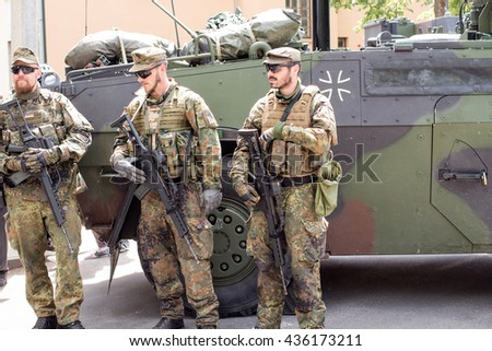 Kupiskis, Lithuania - June 12, 2016: Military equipment and soldiers in Dragoon Ride II