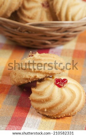 Kurabie biscuits (cakes) in a basket, closeup shot