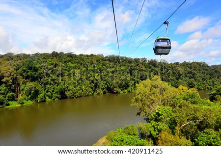 KURANDA, AUS - APR 23 2016:Skyrail Rainforest Cableway, a 7.5 kilometre scenic cableway running above the Barron Gorge National Park a World Heritage in the Wet Tropics of Queensland, Australia. - stock photo