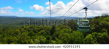 KURANDA, AUS - APRIL 16 2016:Skyrail Rainforest Cableway, a 7.5 kilometre scenic cableway running above the Barron Gorge National Park a World Heritage in the Wet Tropics of Queensland, Australia. - stock photo
