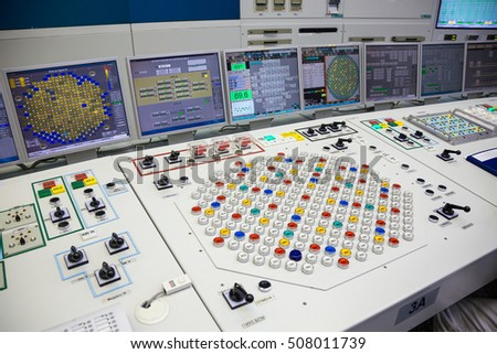 Kurchatov, Russia - JUNE 23, 2016: The control panel inside the control room of the Kursk Nuclear Power Plant on June 23 2016, in Russia
