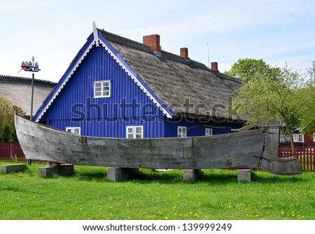 Kurenas �¢?? an ancient fishing sailing vessel in Nida, Lithuania - stock photo