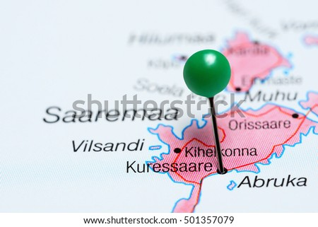 Kuressaare pinned on a map of Estonia