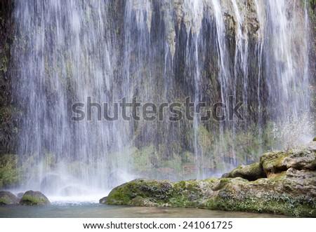 Kursunlu waterfalls in Antalya's resort town (Turkey). - stock photo