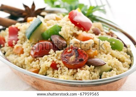 Kuskus with Vegetable - stock photo