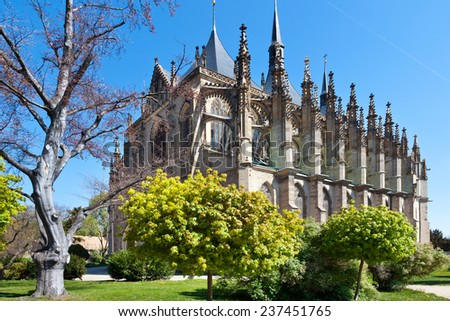 KUTNA HORA, CZECH REPUBLIC - JULY 13 -  gothic Saint Barbora cathedral (UNESCO) on July 13, 2014 in Kutna Hora town, Central Bohemia region, Czech republic, Europe