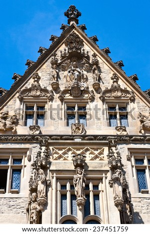 KUTNA HORA, CZECH REPUBLIC - JULY 13 - historical late Gothic town Stone house (UNESCO) on July 13, 2014 in Kutna Hora town, Central Bohemia region, Czech republic, Europe - stock photo