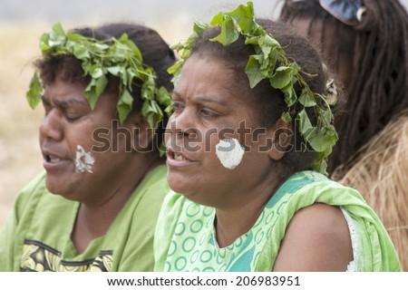 Kuto, Iles des Pins-January 8th 2014: Kanak female singers during a song and dance performance. Melanesian Kanak are the main inhabitants of Kuto. - stock photo