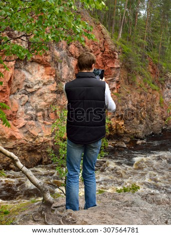 KUUSAMO, FINLAND - JULY 10, 2015: River Oulankajoki is heart of Oulanka National Park. Waters of 135-kilometre-long river originate from Salla mires and actual river begins at Lake Aittajarvi