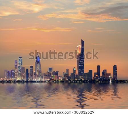 Kuwait Cityscape , blue hour time - stock photo