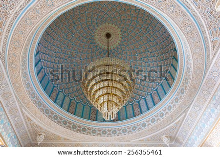 KUWAIT - DEC 10: Beautiful luster inside of the Grand Mosque in Kuwait City. December 10, 2014 in Kuwait, Middle East  - stock photo