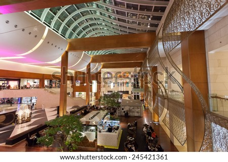 KUWAIT - DECEMBER 10: Interior of the 360 Mall in Al Zahra, Kuwait. 360 is the third biggest mall in Kuwait. December 10, 2014 in Kuwait, Middle East - stock photo